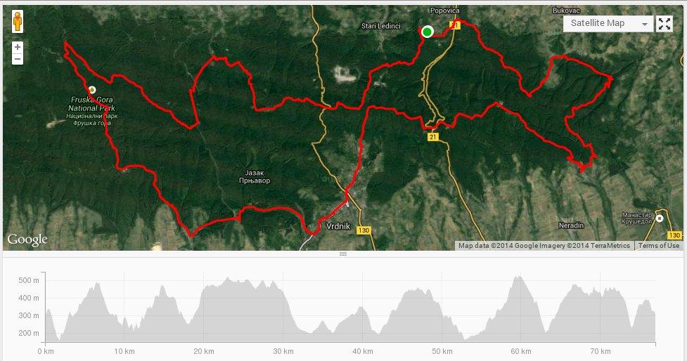 Mapa Veliki Fruškogorski MTB Maraton