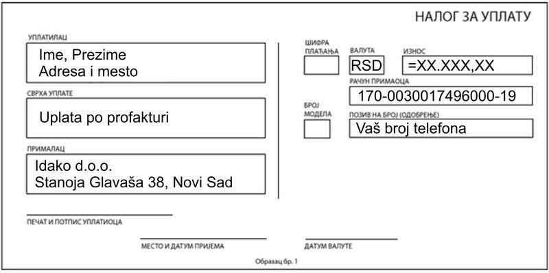 Placanje uplatnicom